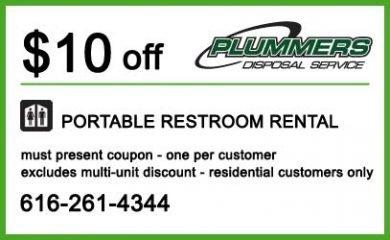 $10 off Restroom Rental